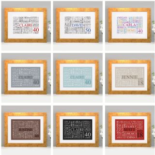 LETTER B CHOICE OF SIZE /& FRAMES FREE P/&P PERSONALISED WORD CLOUD ART