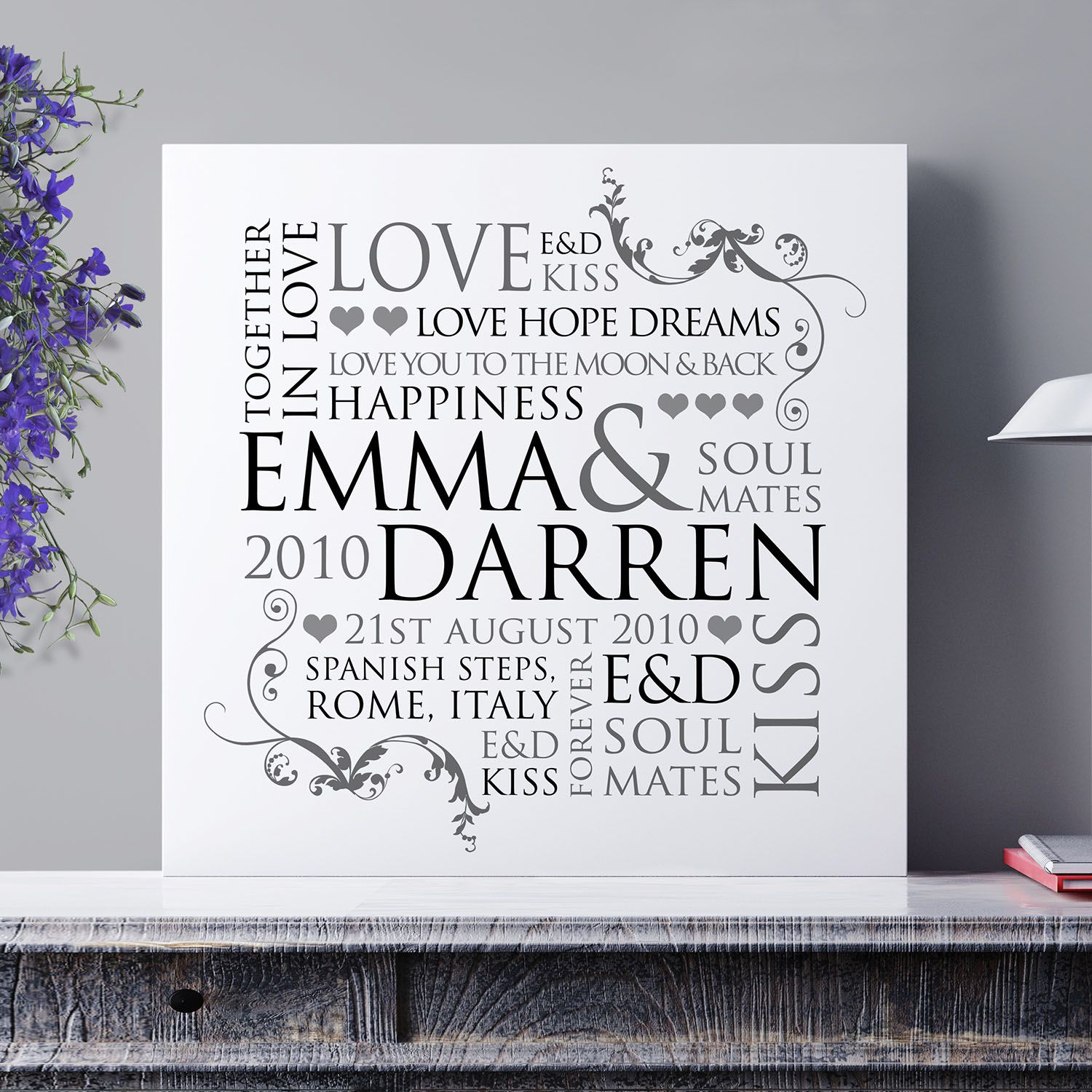 personalised couple s word design print