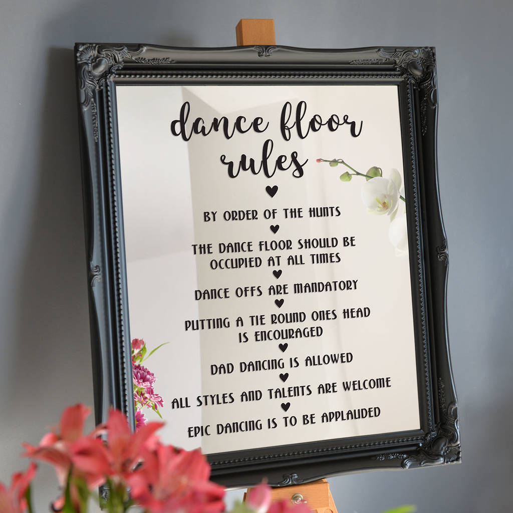 personalised dance floor rules wall or mirror sticker