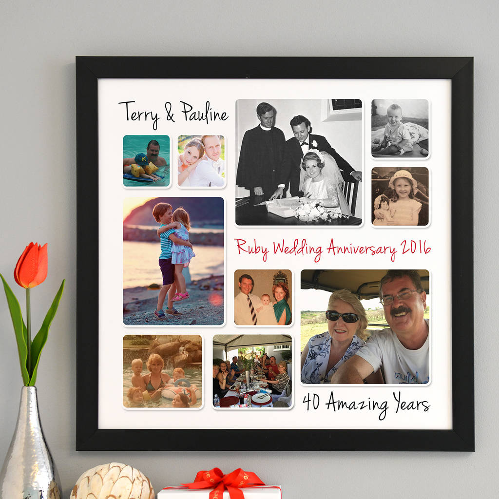 Personalised Ruby Wedding Anniversary Photo Collage