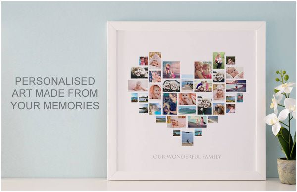 heart montage, heart photo collage, heart montage canvas you frame,
